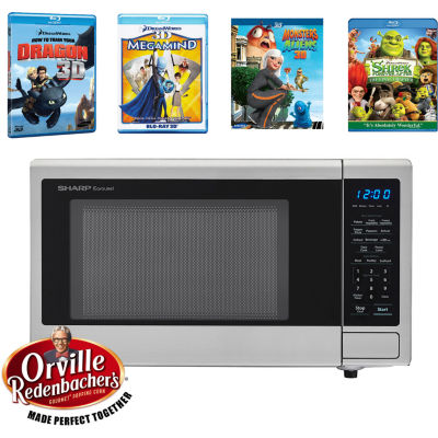 Sharp® Movie Night with Orville Redenbacher's Certified 1.1 cu. ft. Carousel Microwave Oven and 4 Blu-ray 3D Movies