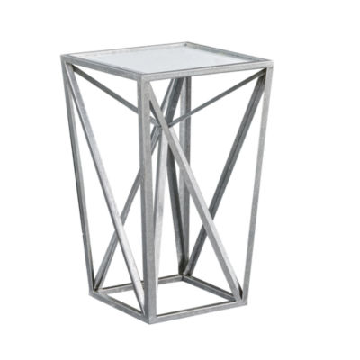 Madison Park Maxx Silver Angular Mirror Accent Table