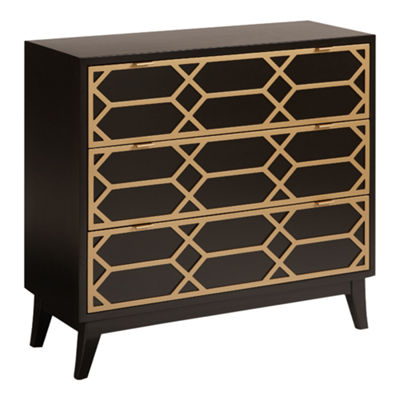 Madison Park Gabrielle Gold Lattice Accent Chest