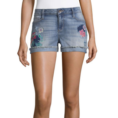 """a.n.a Embroidered Denim Shorts (3 1/2"""")"""