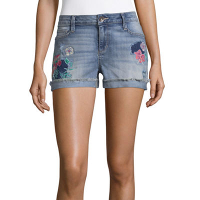 "a.n.a Embroidered Denim Shorts (3 1/2"")"