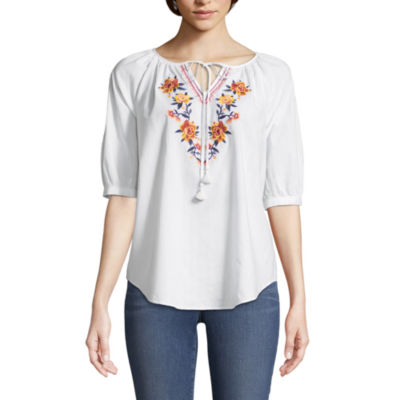St. John's Bay Embroidered Elbow Puffed Sleeve Peasant Top