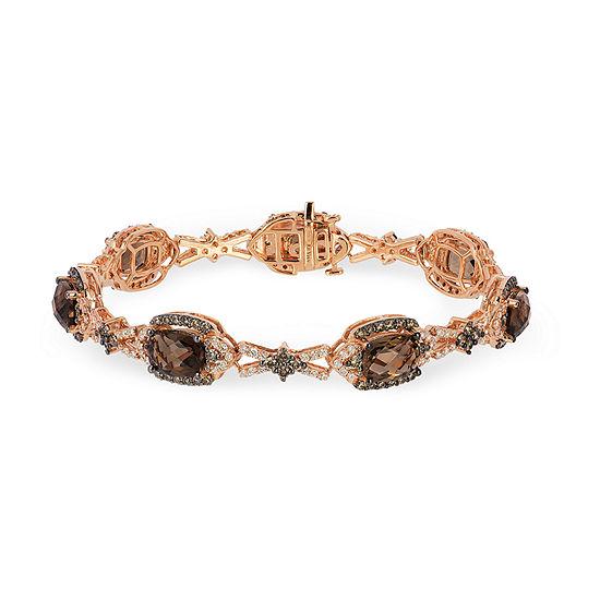 LIMITED QUANTITIES Le Vian Grand Sample Sale™ Bracelet featuring 8  Chocolate Quartz®, Chocolate Diamonds®, Vanilla Diamonds® set in 14K Strawberry Gold®