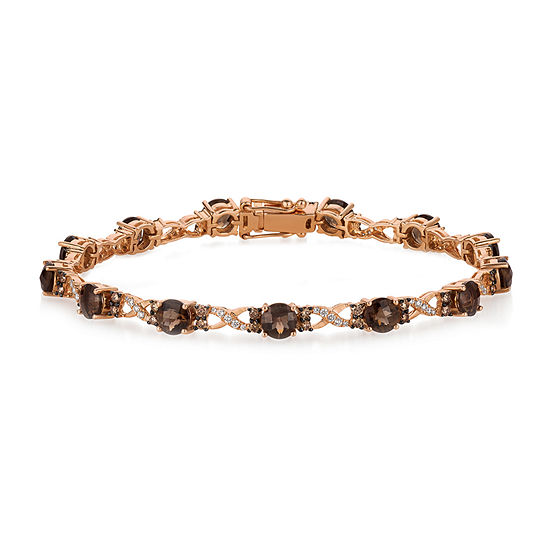 LIMITED QUANTITIES Le Vian Grand Sample Sale™ Bracelet featuring 5  Chocolate Quartz®, Chocolate Diamonds®, Vanilla Diamonds® set in 14K Strawberry Gold®