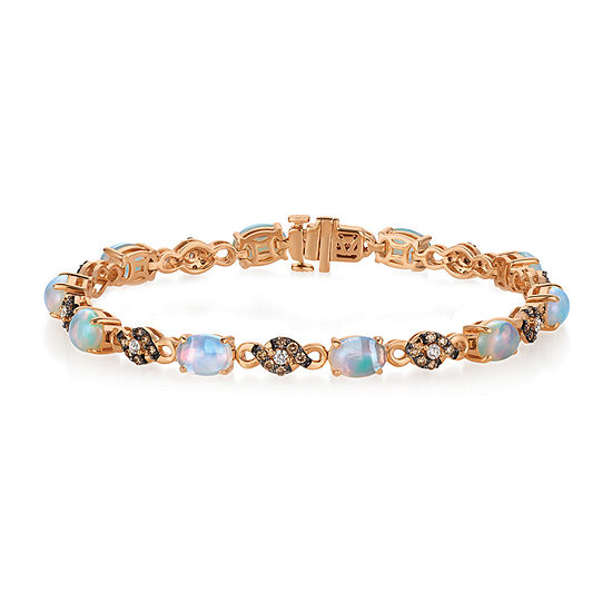 LIMITED QUANTITIES Le Vian Grand Sample Sale™ Bracelet featuring Neopolitan Opal™, Vanilla Diamonds®, Chocolate Diamonds® set in 14K Strawberry Gold®