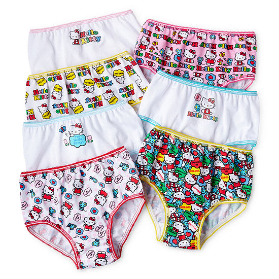 Girls 7 Pair Hello Kitty Brief Panty Preschool