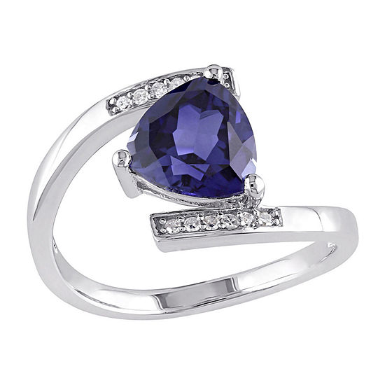 Lab-Created Blue Sapphire and Diamond-Accent Sterling Silver Bypass Ring
