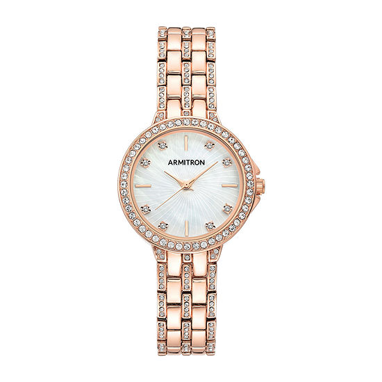 Armitron Womens Crystal Accent Rose Goldtone Bangle Watch 75/5745mprg