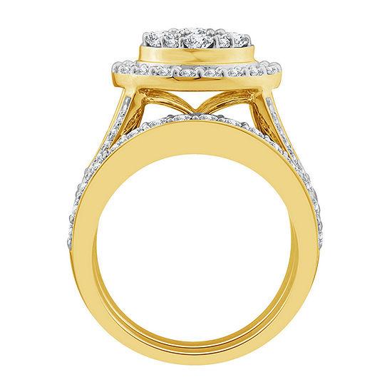 Womens 3 CT. T.W. Genuine White Diamond 10K Gold Round Bridal Set