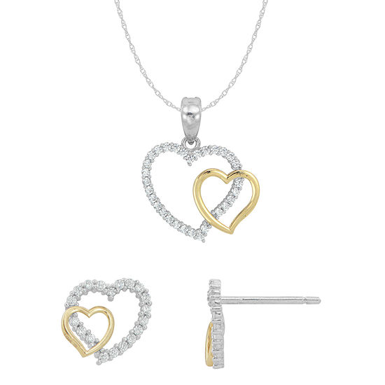 White Cubic Zirconia 10K Gold Sterling Silver Heart 2-pc. Jewelry Set