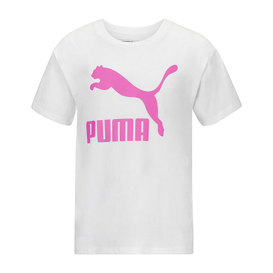 Puma Big Girls Crew Neck Short Sleeve Graphic T-Shirt