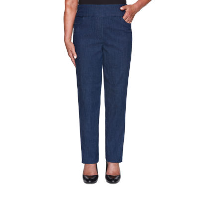 Alfred Dunner Denim Friendly Womens Straight Flat Front Pant