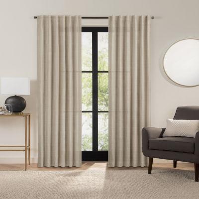 Fieldcrest Luxury Alden Linen Light-Filtering Back-Tab Single Curtain Panel