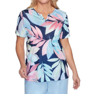 Alfred Dunner Classics Womens Split Crew Neck Short Sleeve T-Shirt
