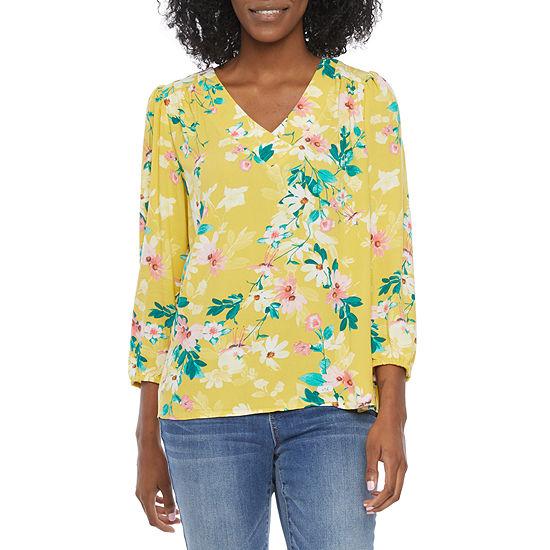 St. John's Bay Womens V Neck 3/4 Sleeve Blouse