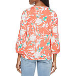 St. John's Bay Womens Split Tie Neck 3/4 Sleeve Blouse