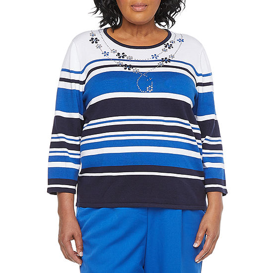 Alfred Dunner-Plus Vacation Mode Womens Round Neck 3/4 Sleeve Striped Pullover Sweater