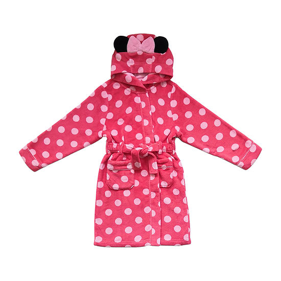Disney Collection Little & Big Girls Fleece Minnie Mouse Long Sleeve Mid Length Robe