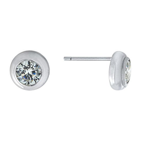 Silver Treasures Cubic Zirconia Sterling Silver 7.8mm Round Stud Earrings