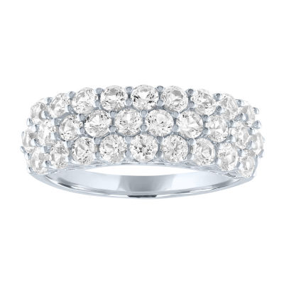 Limited Time Special!! Womens Lab Created White Sapphire Sterling Silver Cocktail Ring