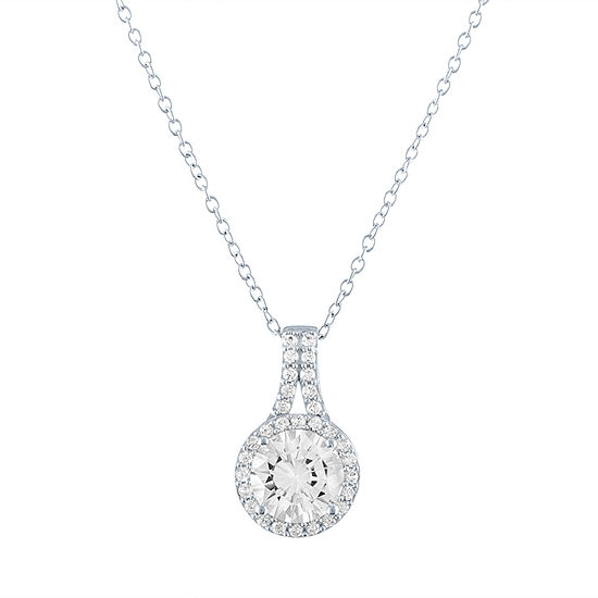 Limited Time Special!! Womens Lab Created White Sapphire Sterling Silver Pendant Necklace