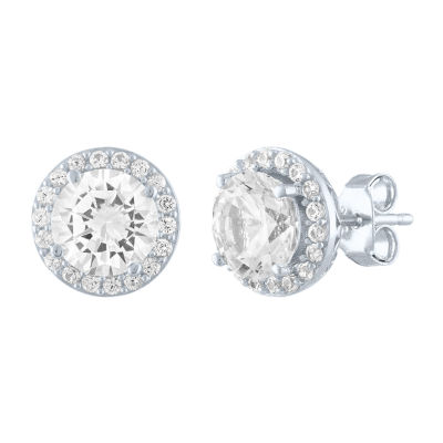 Limited Time Special!! Lab Created White Sapphire Sterling Silver 9.7mm Stud Earrings