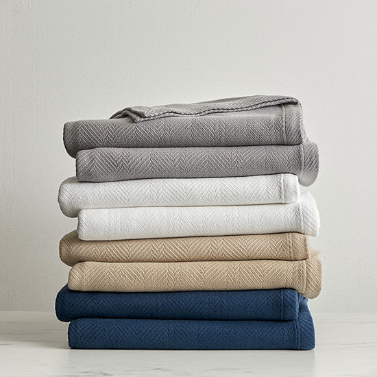 Fieldcrest Luxury Egyptian Cotton Herringbone Blanket