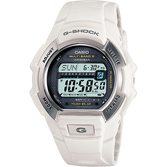 Casio G-Shock Mens Multi-Function Atomic Time Digital White Strap Watch-Gw-M850-7jcp