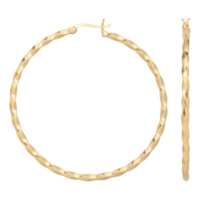 14K Gold Over Silver 50mm Twist Hoop Earrings