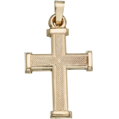 14K Yellow Gold Matte Cross Charm