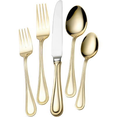 Wallace®  Gold-Plated Continental Bead 65-pc. 18/10 Stainless Steel Flatware Set