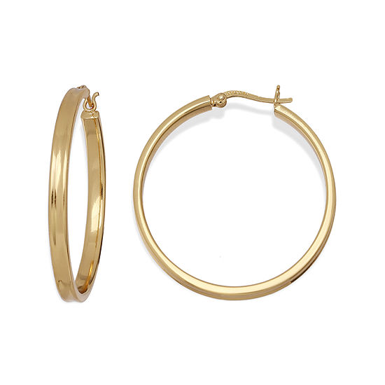 Silver Reflections™ 18K Gold Over Brass Square Tube Hoop Earrings