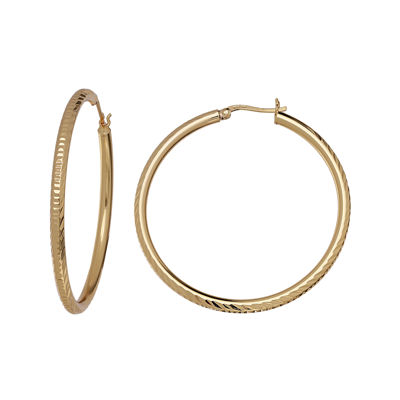 Silver Reflections™ 18K Gold Over Brass Diamond-Cut Hoop Earrings