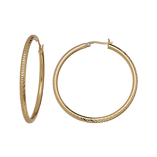 Silver Reflections 18k Gold Over Brass Diamond Cut Hoop Earrings