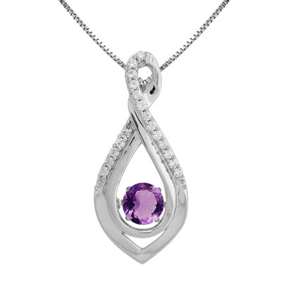Love in Motion™ Genuine Amethyst and Lab-Created White Sapphire Infinity Pendant
