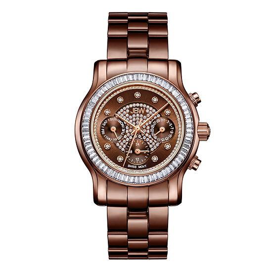 JBW Laurel 1/10 Ct. T.W. Genuine Diamond Womens Multi-Function Brown Stainless Steel Bracelet Watch-J6330i