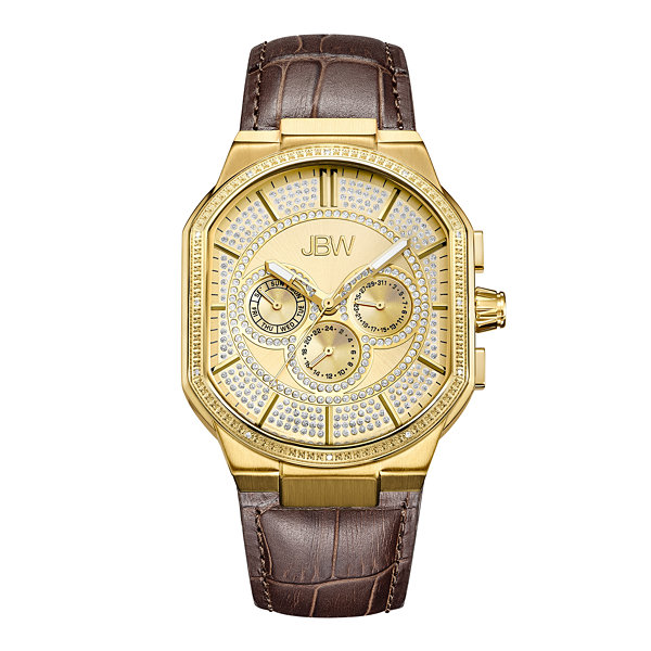 JBW Orion 18k Gold-Plated 0.12 C.T.W Diamond Mens Brown Strap Watch-J6342b