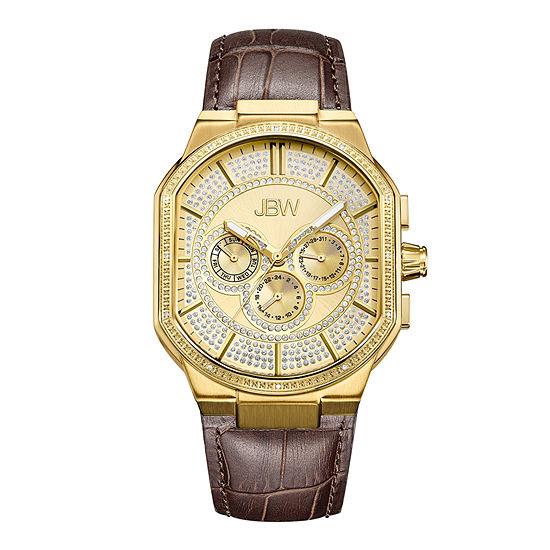 JBW Orion 1/8 CT. T.W. Genuine Diamond Brown Leather Strap Watch-J6342b