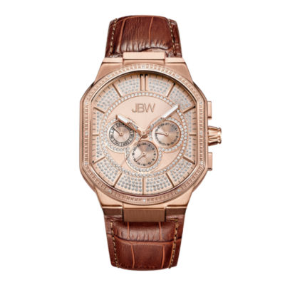 JBW Orion 18k Rose-Gold Plated 0.12 C.T.W Mens Brown Strap Watch-J6342c