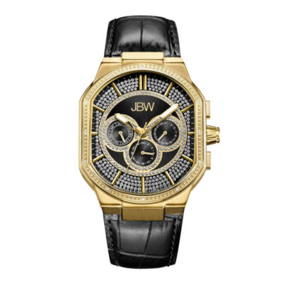 JBW Orion 18k Gold-Plated 0.12 C.T.W Diamond Mens Black Strap Watch-J6342e