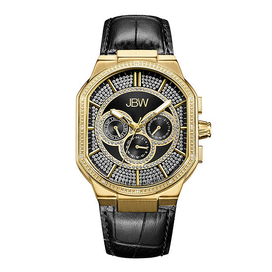 Jbw Orion 18k Gold Plated 012 Ctw Diamond Mens Black Strap Watch J6342e