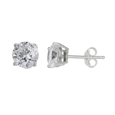 Silver Treasures Clear 5mm Stud Earrings