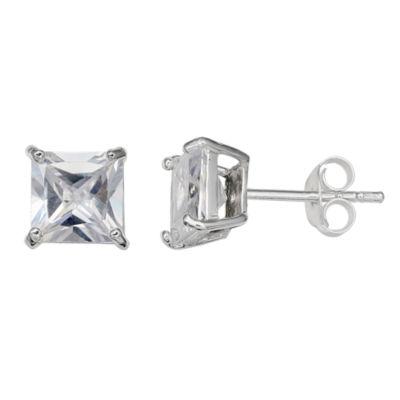 Silver Treasures Clear 6mm Stud Earrings