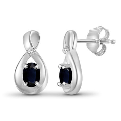 Diamond Accent Genuine Blue Sapphire Sterling Silver 11.6mm Stud Earrings