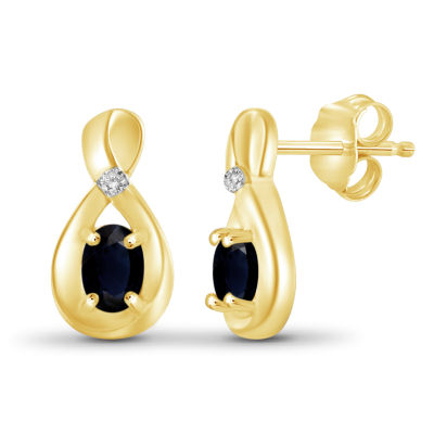 Diamond Accent Genuine Blue Sapphire 14K Gold Over Silver 11.6mm Stud Earrings