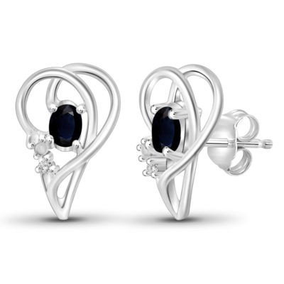 Diamond Accent Genuine Blue Sapphire Sterling Silver 14.4mm Stud Earrings