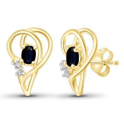 Diamond Accent Genuine Blue Sapphire 14K Gold Over Silver 14.4mm Stud Earrings