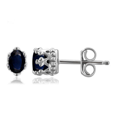 Genuine Blue Sapphire Sterling Silver 6.3mm Stud Earrings