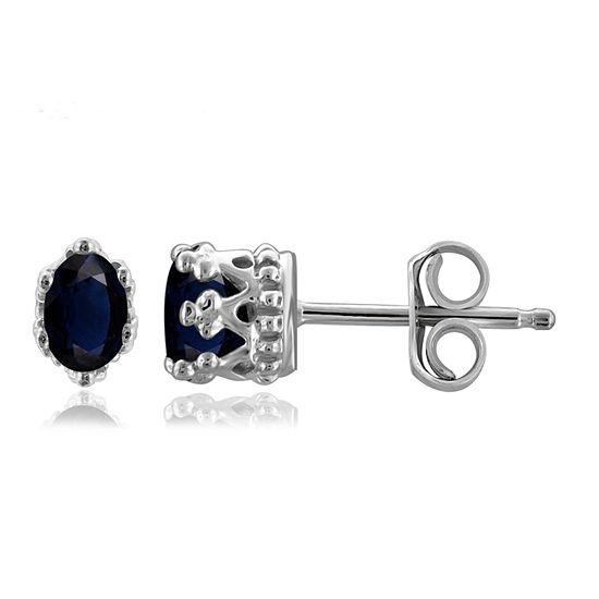 Genuine Blue Sapphire Sterling Silver 6.3mm Stud Earrings