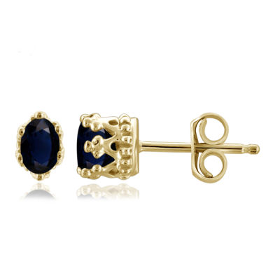 Diamond Accent Genuine Blue Sapphire 14K Gold Over Silver 6.3mm Stud Earrings